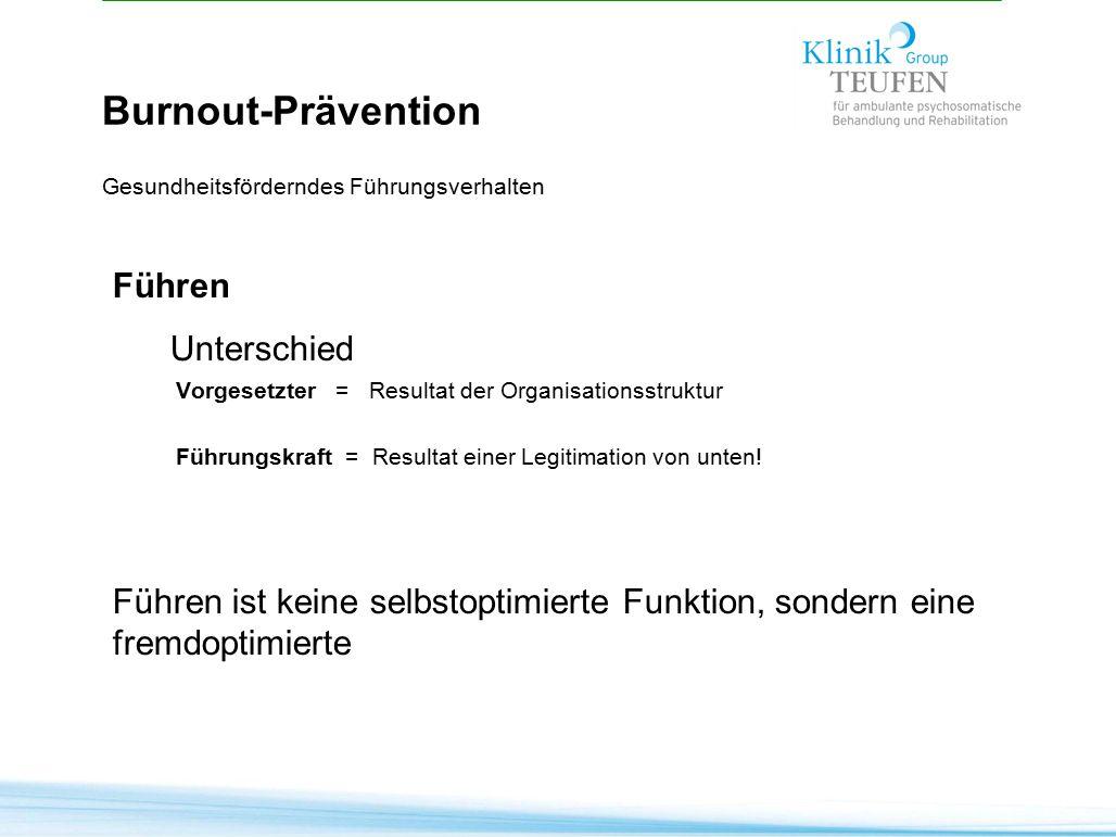 Burnout-Prävention Gesundheitsförderndes Führungsverhalten Führen Unterschied Vorgesetzter = Resultat der Organisationsstruktur Führungskraft = Result