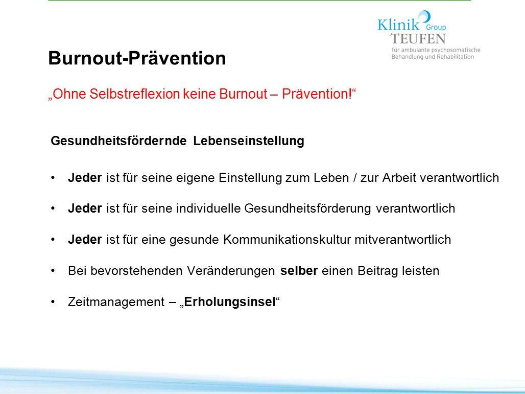 """Burnout-Prävention """"Ohne Selbstreflexion keine Burnout – Prävention!"""" Gesundheitsfördernde Lebenseinstellung Jeder ist für seine eigene Einstellung zu"""