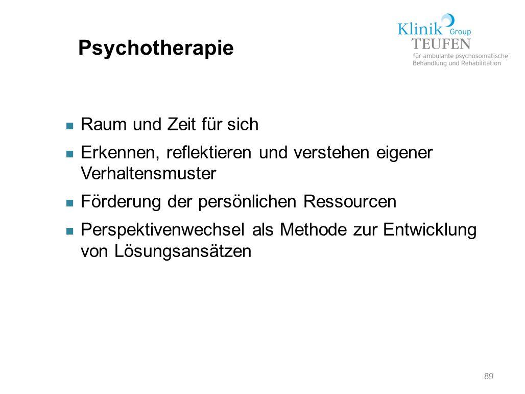 89 Psychotherapie n Raum und Zeit für sich n Erkennen, reflektieren und verstehen eigener Verhaltensmuster n Förderung der persönlichen Ressourcen n P