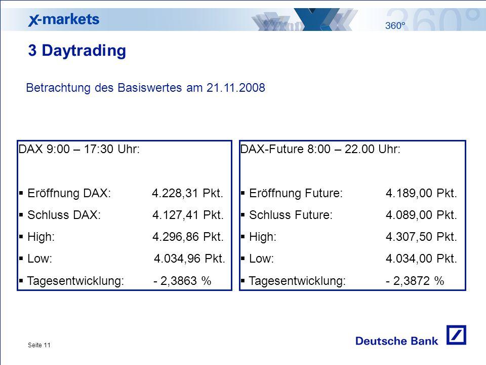 Seite 11 3 Daytrading DAX-Future 8:00 – 22.00 Uhr:  Eröffnung Future:4.189,00 Pkt.  Schluss Future:4.089,00 Pkt.  High:4.307,50 Pkt.  Low:4.034,00