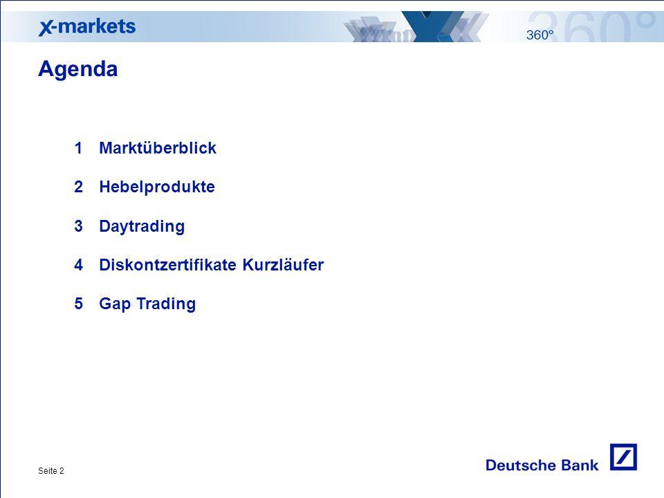 Seite 2 Agenda 1Marktüberblick 2Hebelprodukte 3Daytrading 4Diskontzertifikate Kurzläufer 5Gap Trading