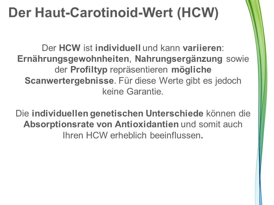 Der Haut-Carotinoid-Wert (HCW) Der HCW ist individuell und kann variieren: Ernährungsgewohnheiten, Nahrungsergänzung sowie der Profiltyp repräsentiere