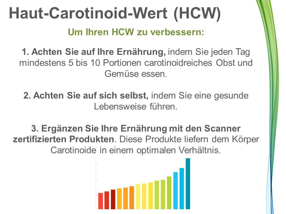 Haut-Carotinoid-Wert (HCW) Um Ihren HCW zu verbessern: 1. Achten Sie auf Ihre Ernährung, indem Sie jeden Tag mindestens 5 bis 10 Portionen carotinoidr