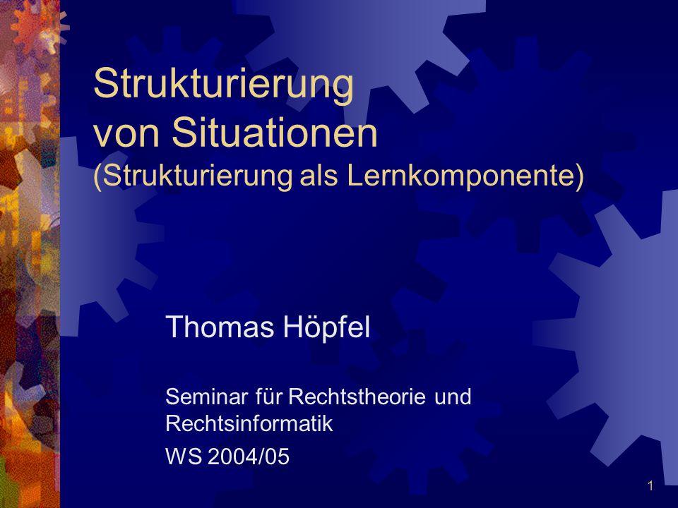 1 Strukturierung von Situationen (Strukturierung als Lernkomponente) Thomas Höpfel Seminar für Rechtstheorie und Rechtsinformatik WS 2004/05