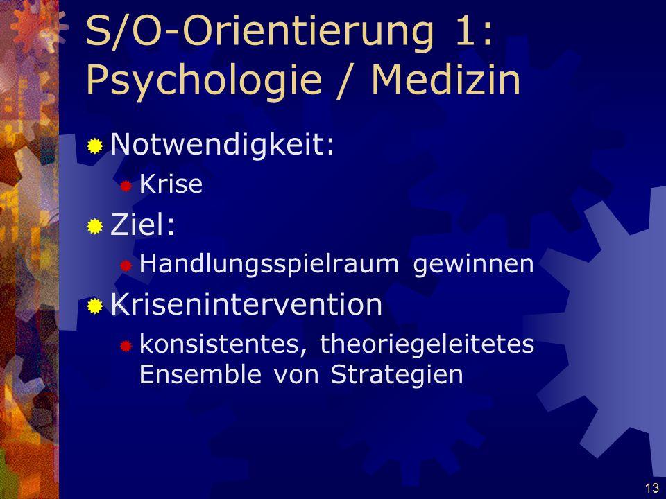 13 S/O-Orientierung 1: Psychologie / Medizin  Notwendigkeit:  Krise  Ziel:  Handlungsspielraum gewinnen  Krisenintervention  konsistentes, theor