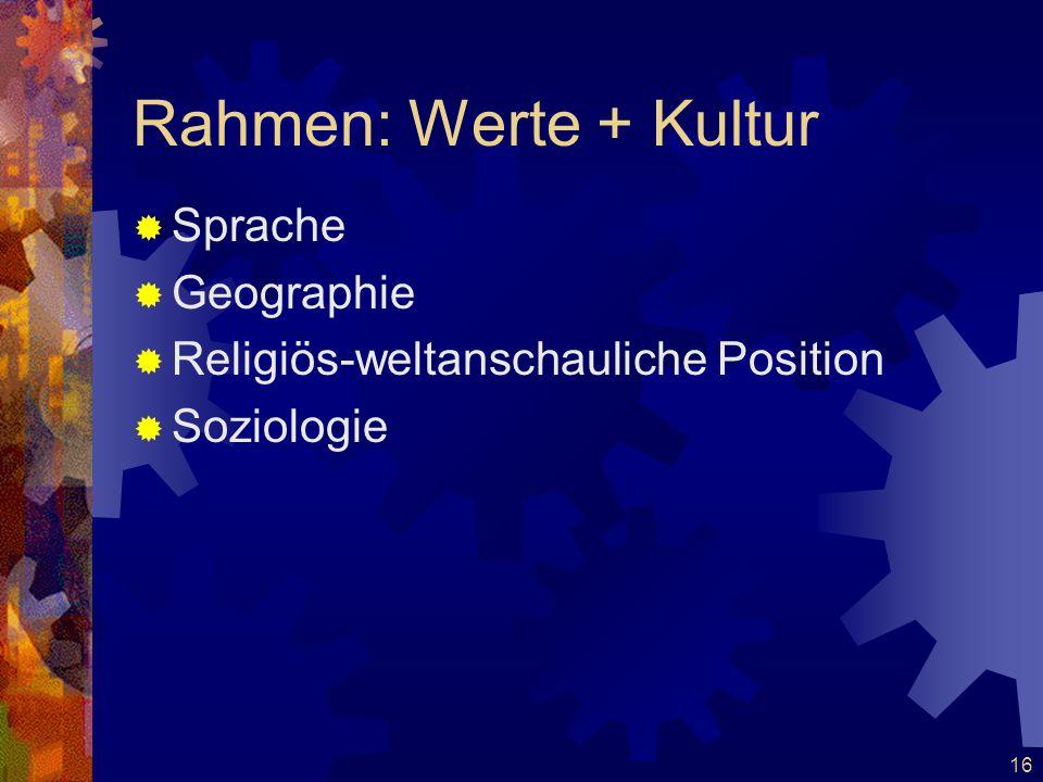 16 Rahmen: Werte + Kultur  Sprache  Geographie  Religiös-weltanschauliche Position  Soziologie