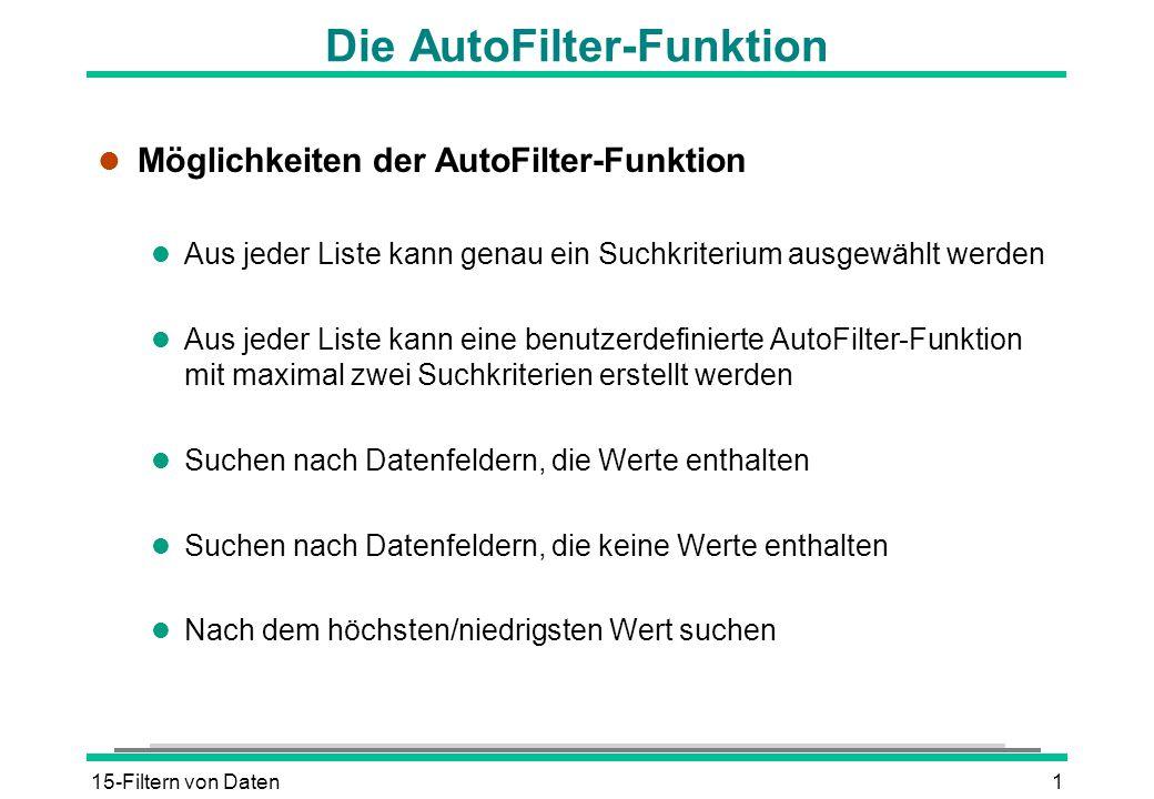 15-Filtern von Daten1 Die AutoFilter-Funktion l Möglichkeiten der AutoFilter-Funktion l Aus jeder Liste kann genau ein Suchkriterium ausgewählt werden