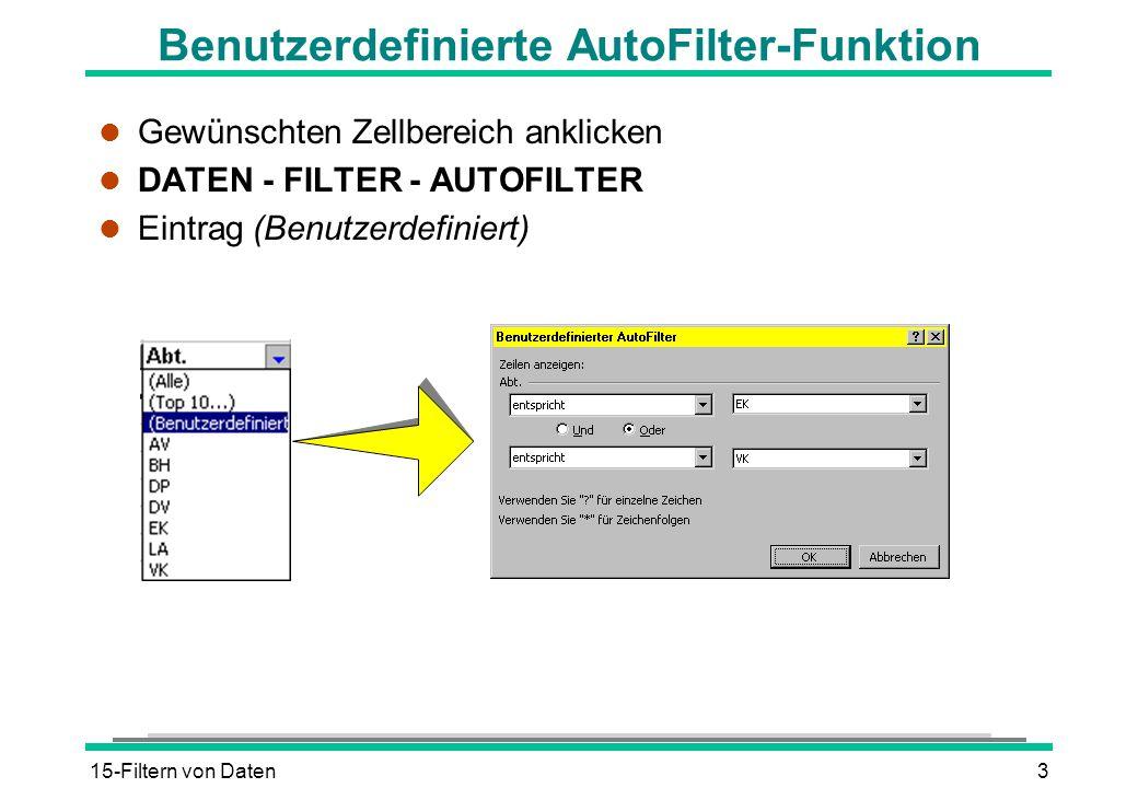15-Filtern von Daten3 Benutzerdefinierte AutoFilter-Funktion l Gewünschten Zellbereich anklicken l DATEN - FILTER - AUTOFILTER l Eintrag (Benutzerdefi