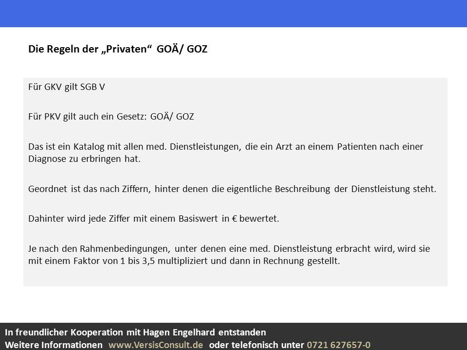 Für GKV gilt SGB V Für PKV gilt auch ein Gesetz: GOÄ/ GOZ Das ist ein Katalog mit allen med.