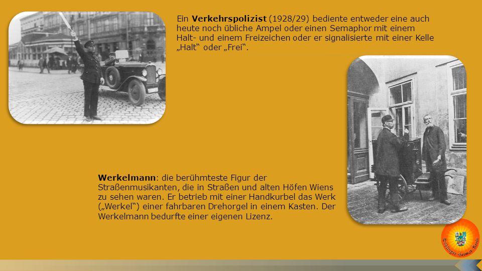 """Ein Verkehrspolizist (1928/29) bediente entweder eine auch heute noch übliche Ampel oder einen Semaphor mit einem Halt- und einem Freizeichen oder er signalisierte mit einer Kelle """"Halt oder """"Frei ."""