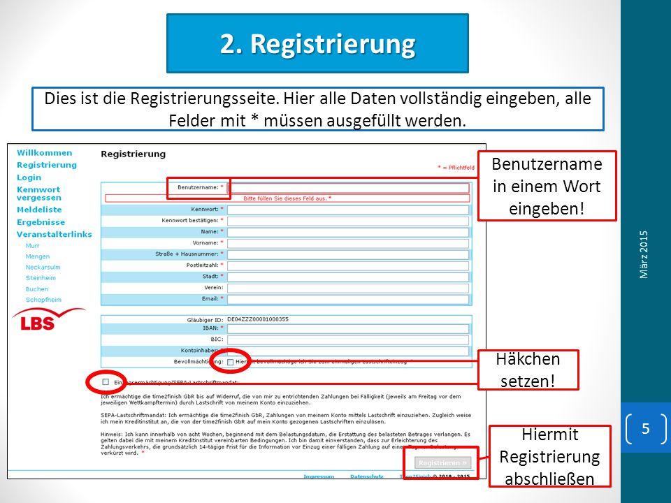 2. Registrierung Dies ist die Registrierungsseite.