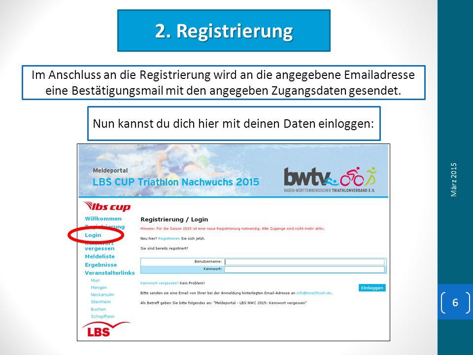 2. Registrierung Im Anschluss an die Registrierung wird an die angegebene Emailadresse eine Bestätigungsmail mit den angegeben Zugangsdaten gesendet.
