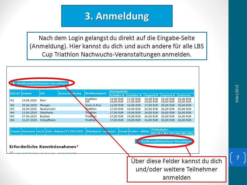 3. Anmeldung Nach dem Login gelangst du direkt auf die Eingabe-Seite (Anmeldung).