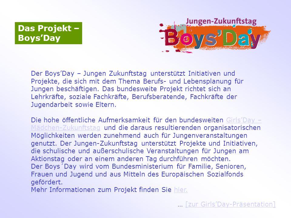 Das Projekt – Boys'Day Der Boys'Day – Jungen Zukunftstag unterstützt Initiativen und Projekte, die sich mit dem Thema Berufs- und Lebensplanung für Ju