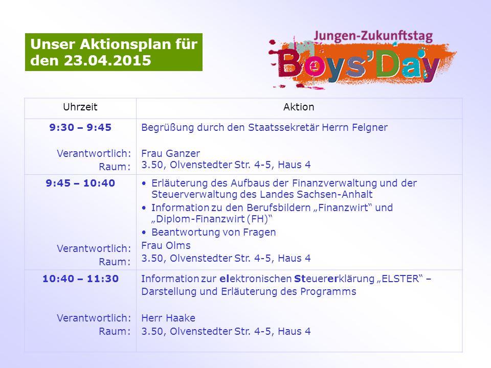 Unser Aktionsplan für den 23.04.2015 UhrzeitAktion 9:30 – 9:45 Verantwortlich: Raum: Begrüßung durch den Staatssekretär Herrn Felgner Frau Ganzer 3.50