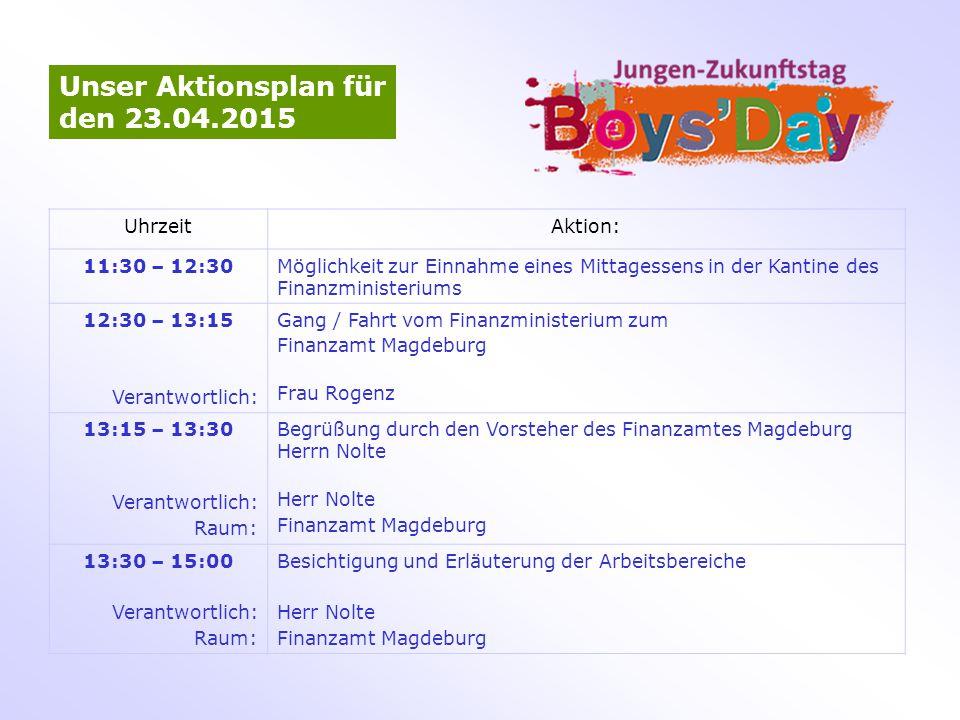 Unser Aktionsplan für den 23.04.2015 UhrzeitAktion: 11:30 – 12:30Möglichkeit zur Einnahme eines Mittagessens in der Kantine des Finanzministeriums 12: