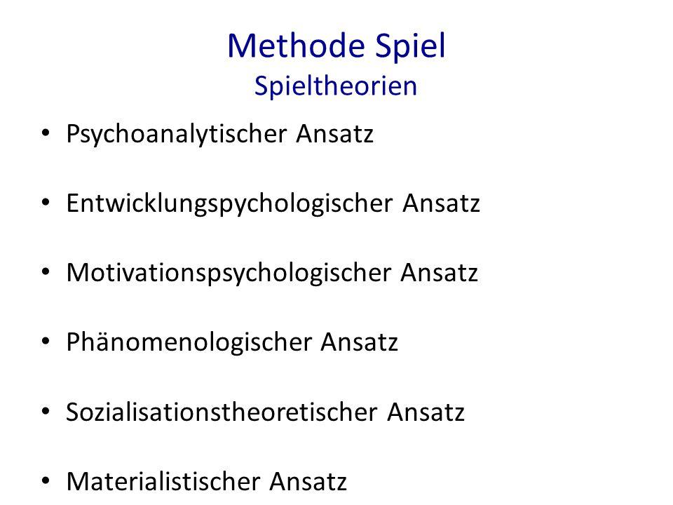 Methode Spiel Spieltheorien Psychoanalytischer Ansatz Entwicklungspychologischer Ansatz Motivationspsychologischer Ansatz Phänomenologischer Ansatz So
