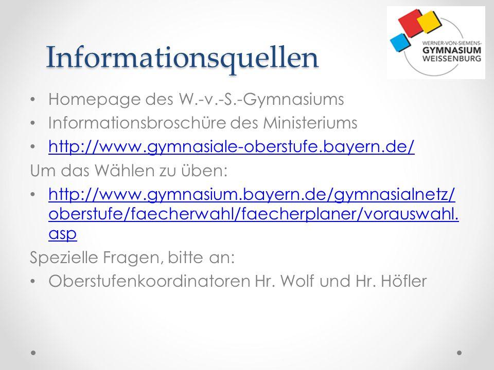 Informationsquellen Homepage des W.-v.-S.-Gymnasiums Informationsbroschüre des Ministeriums http://www.gymnasiale-oberstufe.bayern.de/ Um das Wählen z