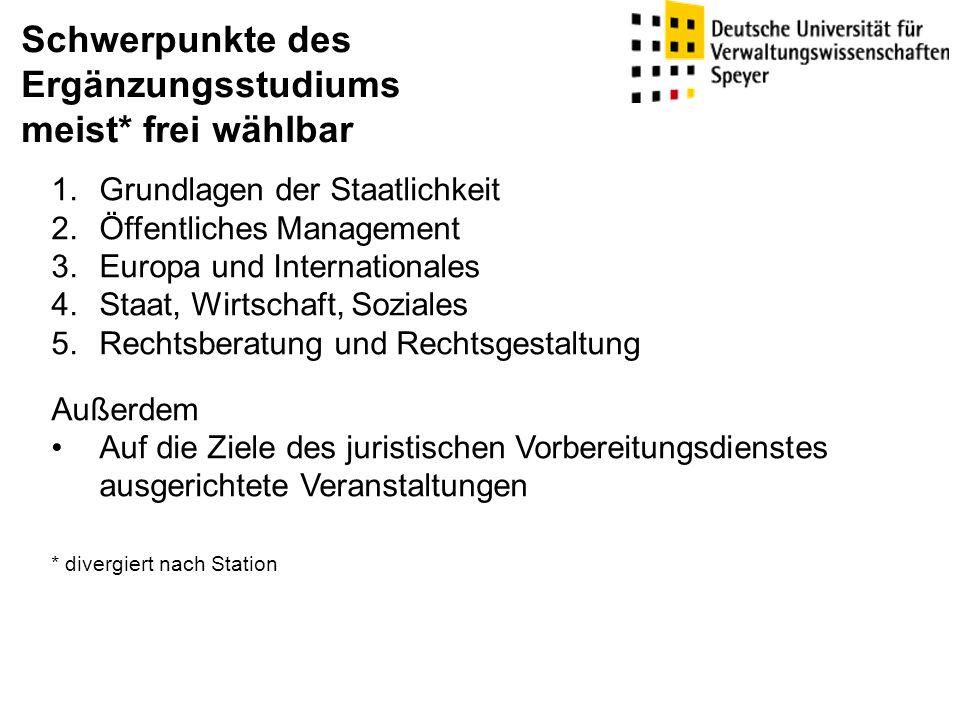 Schwerpunkte des Ergänzungsstudiums meist* frei wählbar 1.Grundlagen der Staatlichkeit 2.Öffentliches Management 3.Europa und Internationales 4.Staat,