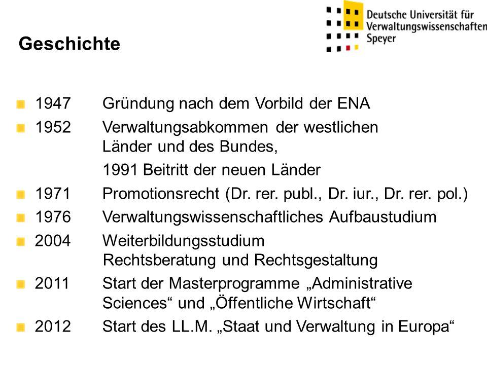 Geschichte 1947Gründung nach dem Vorbild der ENA 1952 Verwaltungsabkommen der westlichen Länder und des Bundes, 1991 Beitritt der neuen Länder 1971Promotionsrecht (Dr.