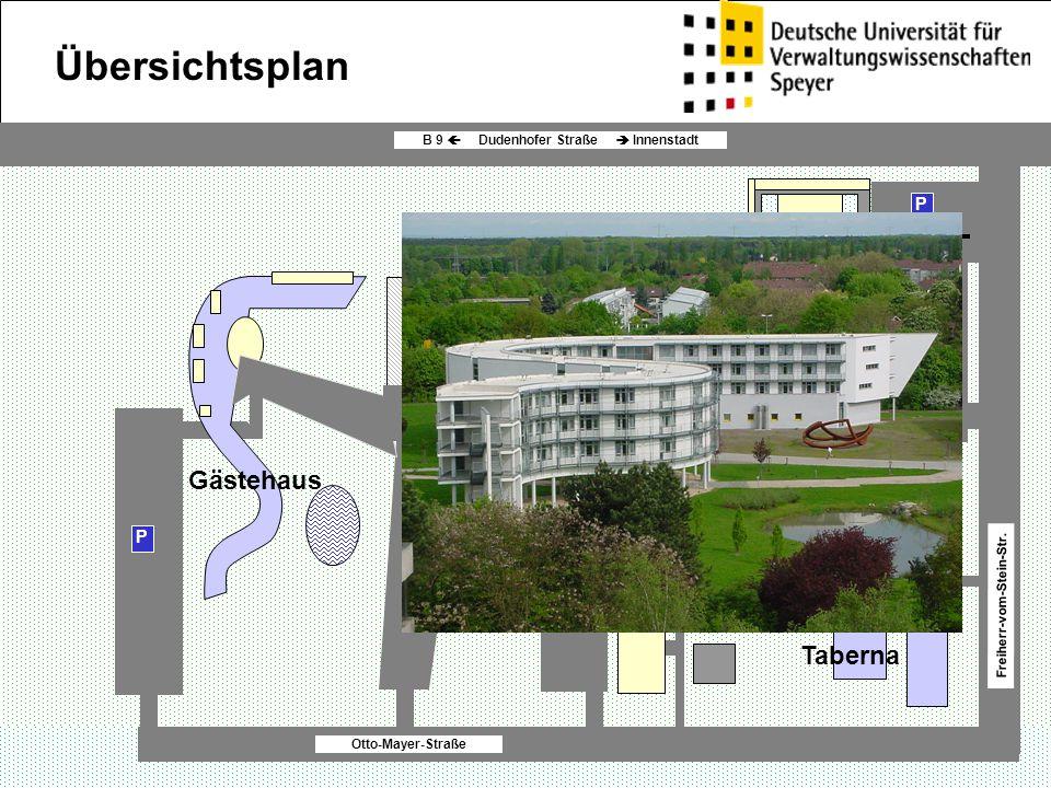 P P P SIL P Lehrstuhl- gebäude Otto-Mayer-Straße B 9  Dudenhofer Straße  Innenstadt Freiherr-vom-Stein-Str. Gästehaus Übersichtsplan Hauptgebäude Fö
