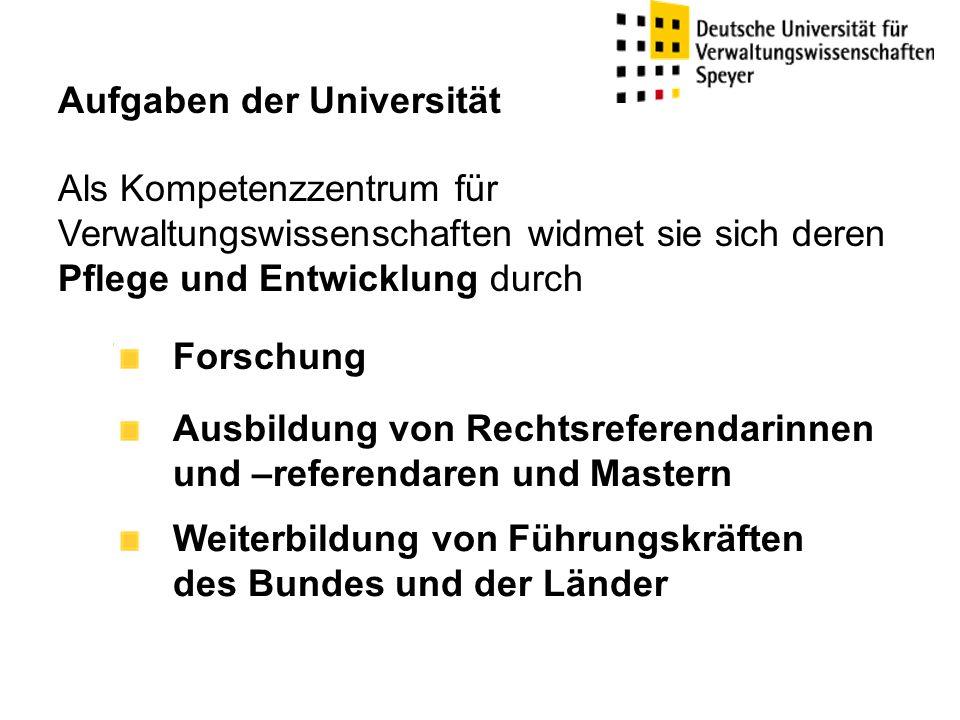 Aufgaben der Universität Als Kompetenzzentrum für Verwaltungswissenschaften widmet sie sich deren Pflege und Entwicklung durch Forschung Ausbildung vo