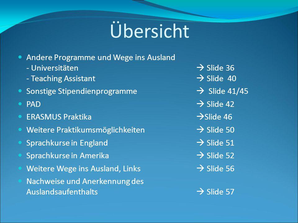 Übersicht Andere Programme und Wege ins Ausland - Universitäten  Slide 36 - Teaching Assistant  Slide 40 Sonstige Stipendienprogramme  Slide 41/45