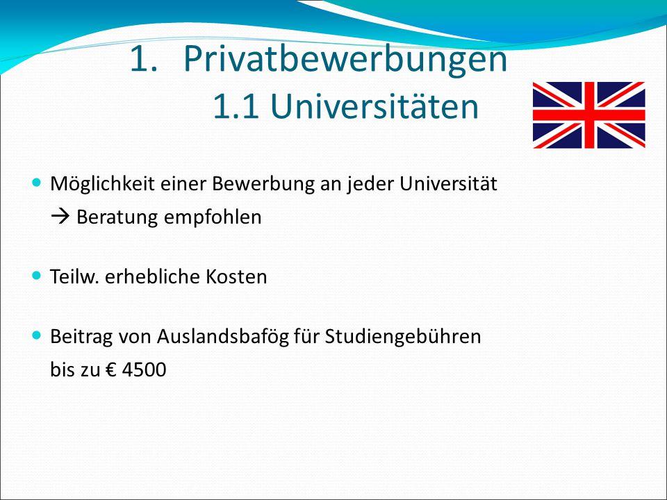 1.Privatbewerbungen 1.1 Universitäten Möglichkeit einer Bewerbung an jeder Universität  Beratung empfohlen Teilw. erhebliche Kosten Beitrag von Ausla