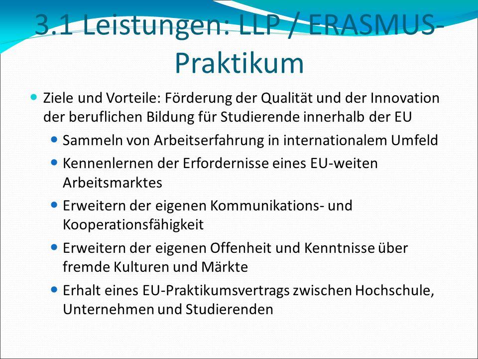 3.1 Leistungen: LLP / ERASMUS- Praktikum Ziele und Vorteile: Förderung der Qualität und der Innovation der beruflichen Bildung für Studierende innerha