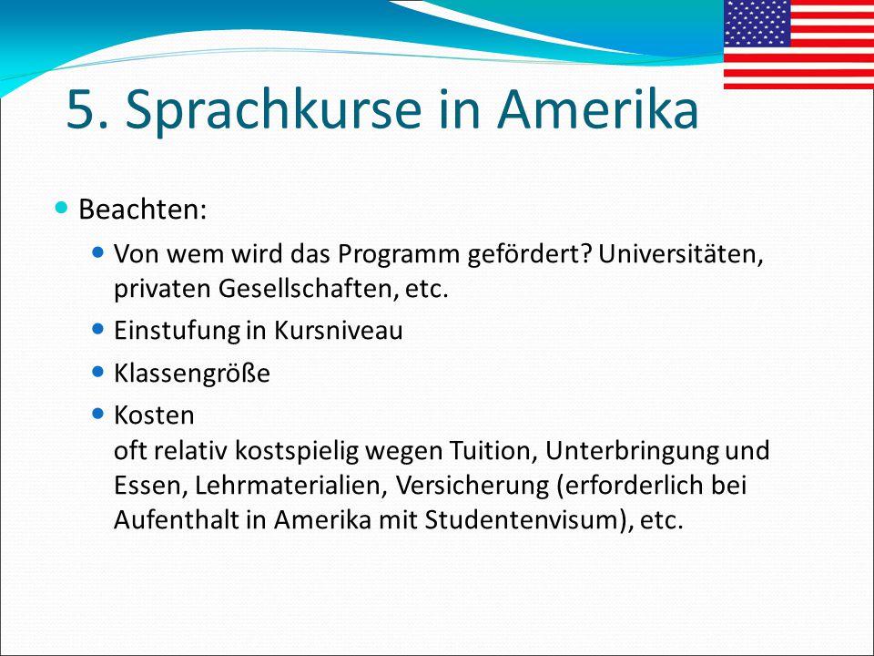 5. Sprachkurse in Amerika Beachten: Von wem wird das Programm gefördert? Universitäten, privaten Gesellschaften, etc. Einstufung in Kursniveau Klassen