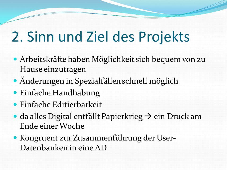 2. Sinn und Ziel des Projekts Arbeitskräfte haben Möglichkeit sich bequem von zu Hause einzutragen Änderungen in Spezialfällen schnell möglich Einfach