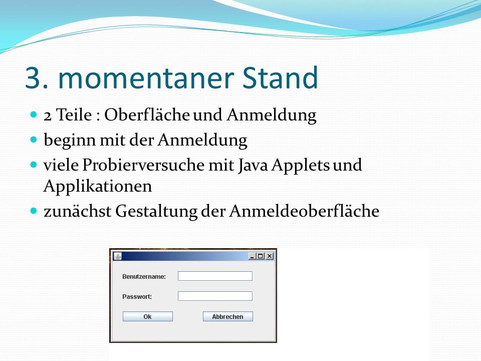 3. momentaner Stand 2 Teile : Oberfläche und Anmeldung beginn mit der Anmeldung viele Probierversuche mit Java Applets und Applikationen zunächst Gest
