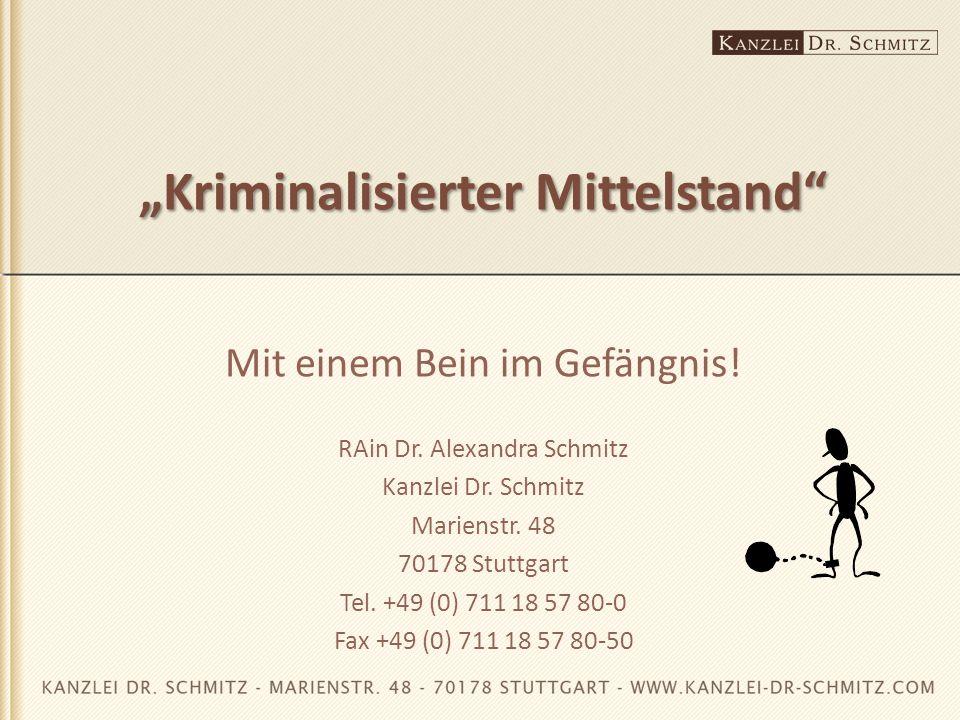 """""""Kriminalisierter Mittelstand"""" Mit einem Bein im Gefängnis! RAin Dr. Alexandra Schmitz Kanzlei Dr. Schmitz Marienstr. 48 70178 Stuttgart Tel. +49 (0)"""