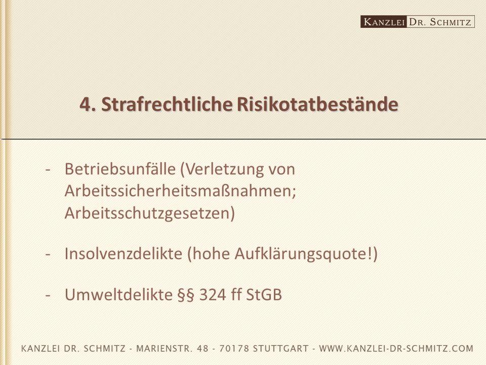 4. Strafrechtliche Risikotatbestände -Betriebsunfälle (Verletzung von Arbeitssicherheitsmaßnahmen; Arbeitsschutzgesetzen) -Insolvenzdelikte (hohe Aufk