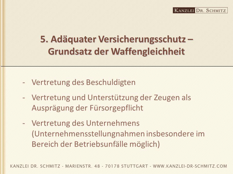 5. Adäquater Versicherungsschutz – Grundsatz der Waffengleichheit -Vertretung des Beschuldigten -Vertretung und Unterstützung der Zeugen als Ausprägun