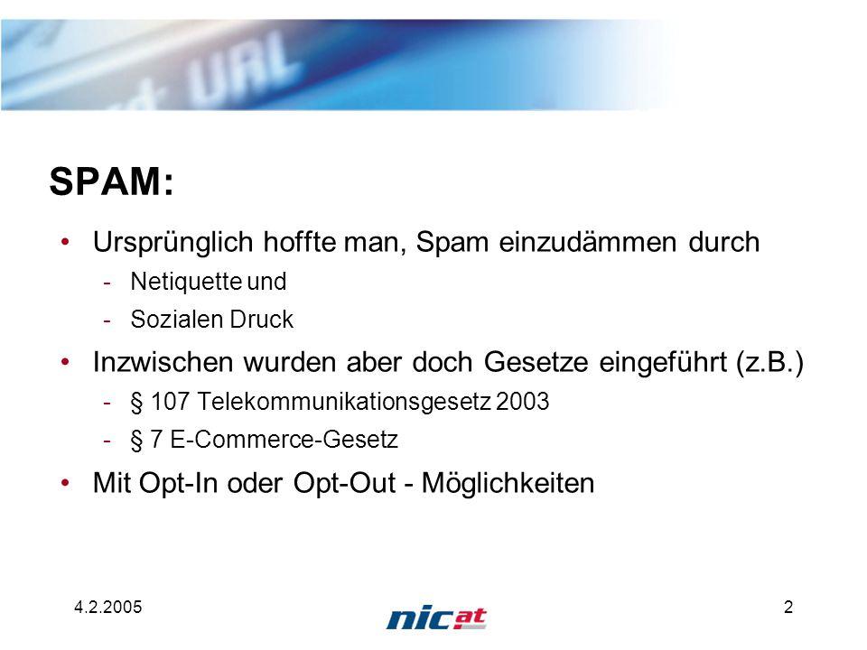4.2.20052 SPAM: Ursprünglich hoffte man, Spam einzudämmen durch -Netiquette und -Sozialen Druck Inzwischen wurden aber doch Gesetze eingeführt (z.B.) -§ 107 Telekommunikationsgesetz 2003 -§ 7 E-Commerce-Gesetz Mit Opt-In oder Opt-Out - Möglichkeiten
