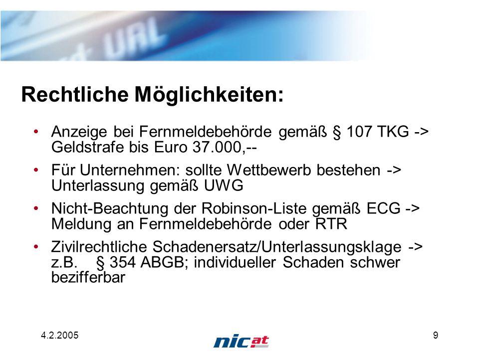 4.2.20059 Rechtliche Möglichkeiten: Anzeige bei Fernmeldebehörde gemäß § 107 TKG -> Geldstrafe bis Euro 37.000,-- Für Unternehmen: sollte Wettbewerb b