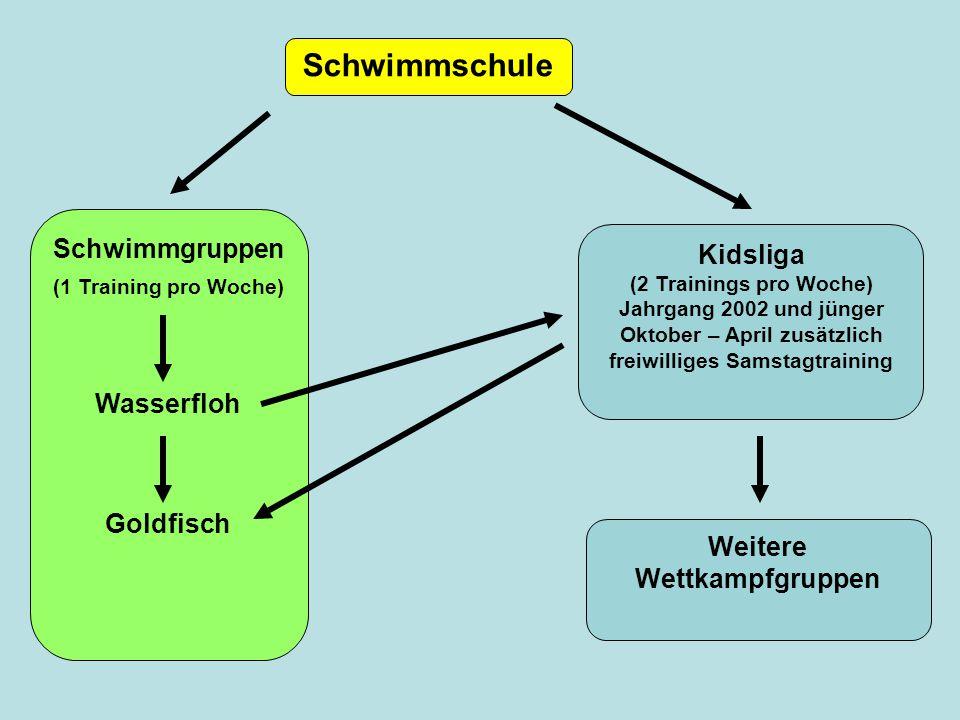 Schwimmschule Kidsliga (2 Trainings pro Woche) Jahrgang 2002 und jünger Oktober – April zusätzlich freiwilliges Samstagtraining Schwimmgruppen (1 Trai