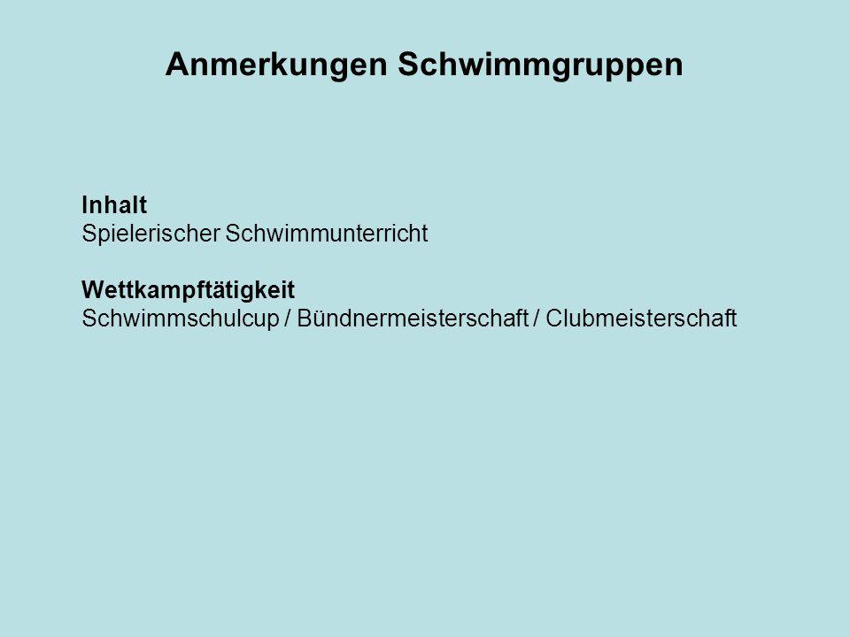 Anmerkungen Schwimmgruppen Inhalt Spielerischer Schwimmunterricht Wettkampftätigkeit Schwimmschulcup / Bündnermeisterschaft / Clubmeisterschaft
