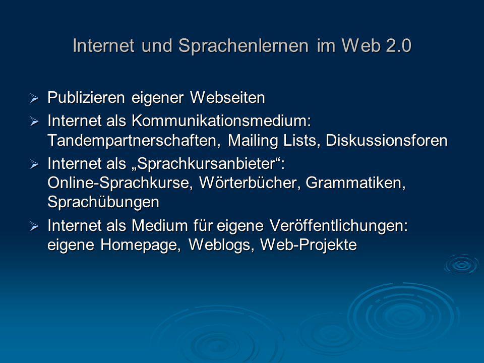 Internet und Sprachenlernen im Web 2.0  Publizieren eigener Webseiten  Internet als Kommunikationsmedium: Tandempartnerschaften, Mailing Lists, Disk