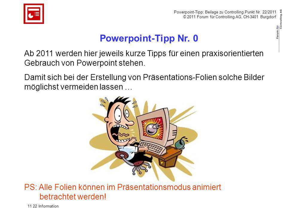 Powerpoint-Tipp; Beilage zu Controlling.Punkt Nr. 22/2011 © 2011 Forum für Controlling AG, CH-3401 Burgdorf Powerpoint-Tipp Nr. 0 Ab 2011 werden hier