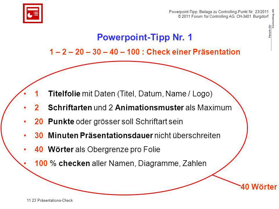 Powerpoint-Tipp; Beilage zu Controlling.Punkt Nr. 23/2011 © 2011 Forum für Controlling AG, CH-3401 Burgdorf Powerpoint-Tipp Nr. 1 1 – 2 – 20 – 30 – 40