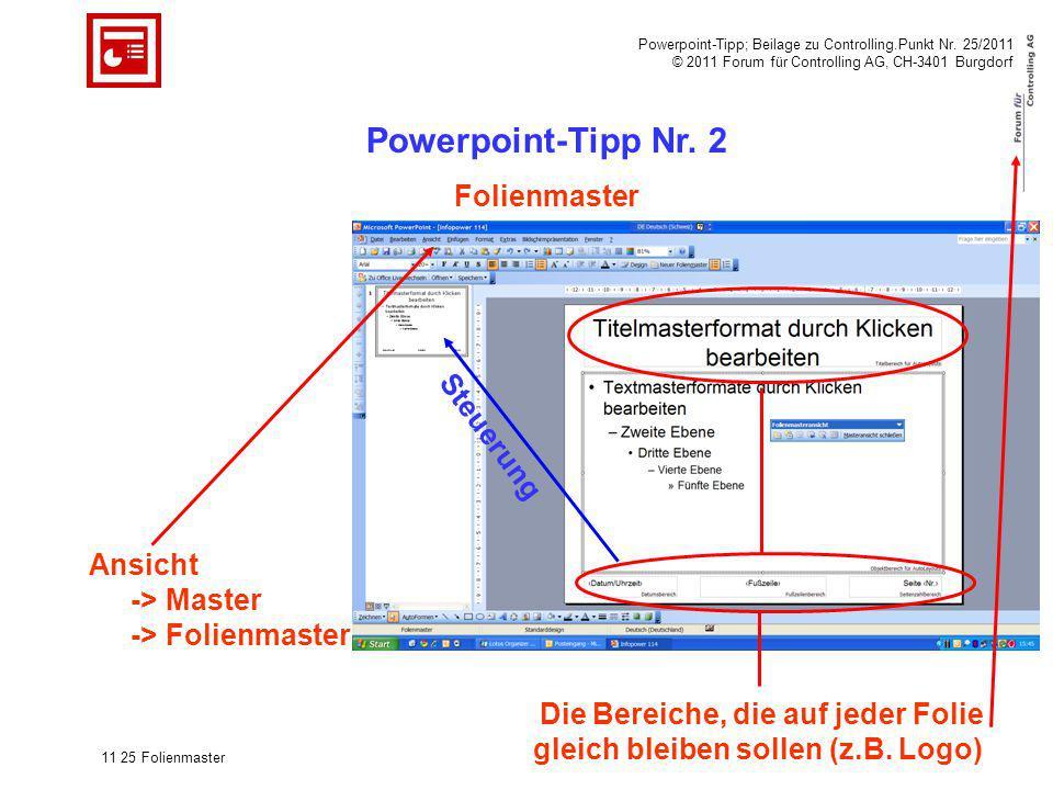 Powerpoint-Tipp; Beilage zu Controlling.Punkt Nr. 25/2011 © 2011 Forum für Controlling AG, CH-3401 Burgdorf 11 25 Folienmaster Powerpoint-Tipp Nr. 2 F