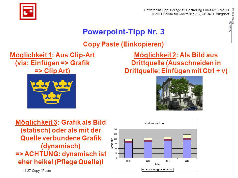 Powerpoint-Tipp; Beilage zu Controlling.Punkt Nr. 27/2011 © 2011 Forum für Controlling AG, CH-3401 Burgdorf 11 27 Copy / Paste Powerpoint-Tipp Nr. 3 C
