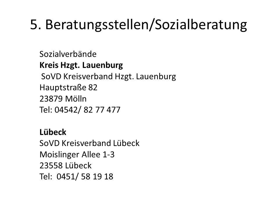 5.Beratungsstellen/Sozialberatung Sozialverbände Kreis Hzgt.