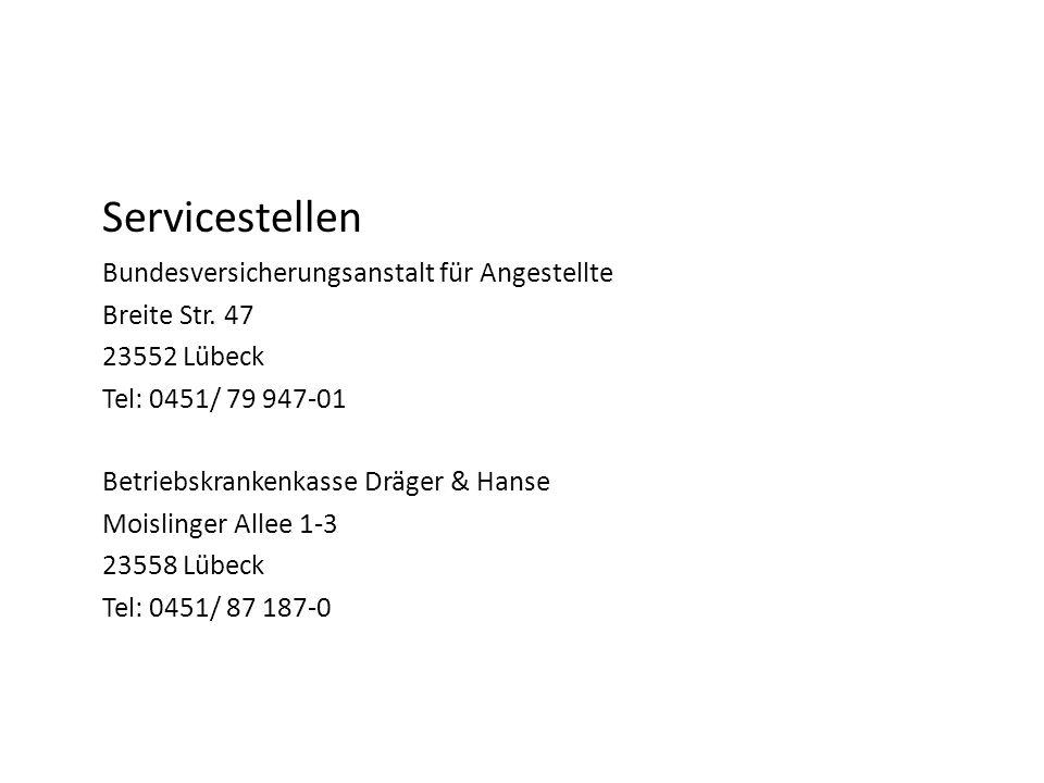Servicestellen Bundesversicherungsanstalt für Angestellte Breite Str.