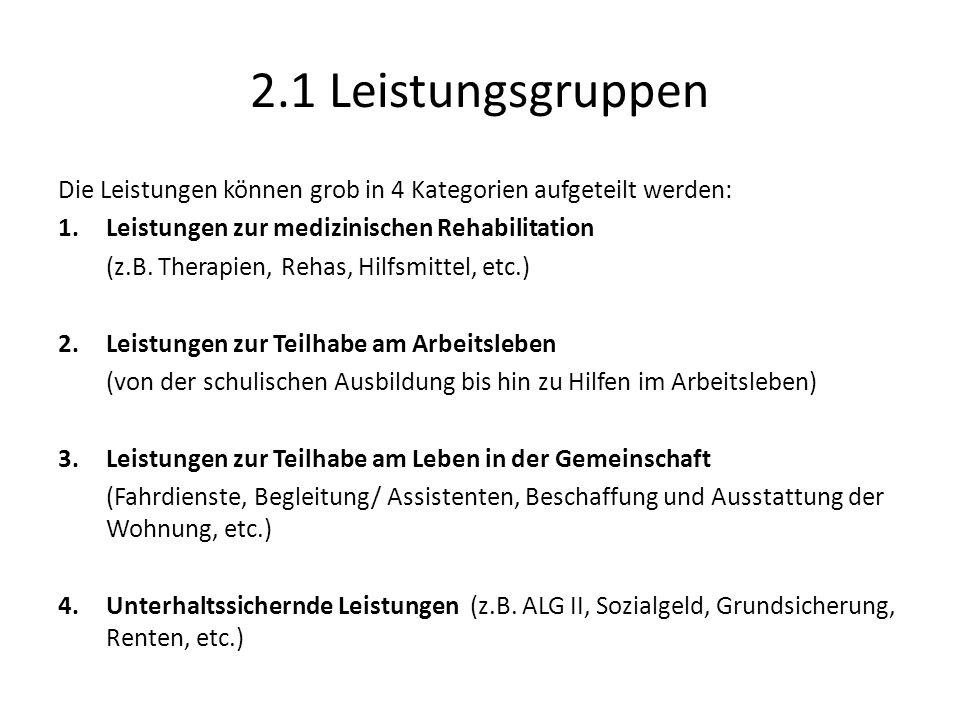2.1 Leistungsgruppen Die Leistungen können grob in 4 Kategorien aufgeteilt werden: 1.Leistungen zur medizinischen Rehabilitation (z.B.