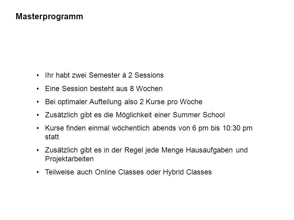 Masterprogramm Ihr habt zwei Semester á 2 Sessions Eine Session besteht aus 8 Wochen Bei optimaler Aufteilung also 2 Kurse pro Woche Zusätzlich gibt e