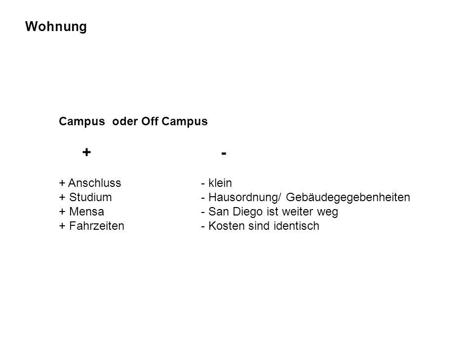 Wohnung Campus oder Off Campus + - + Anschluss- klein + Studium- Hausordnung/ Gebäudegegebenheiten + Mensa- San Diego ist weiter weg + Fahrzeiten- Kos