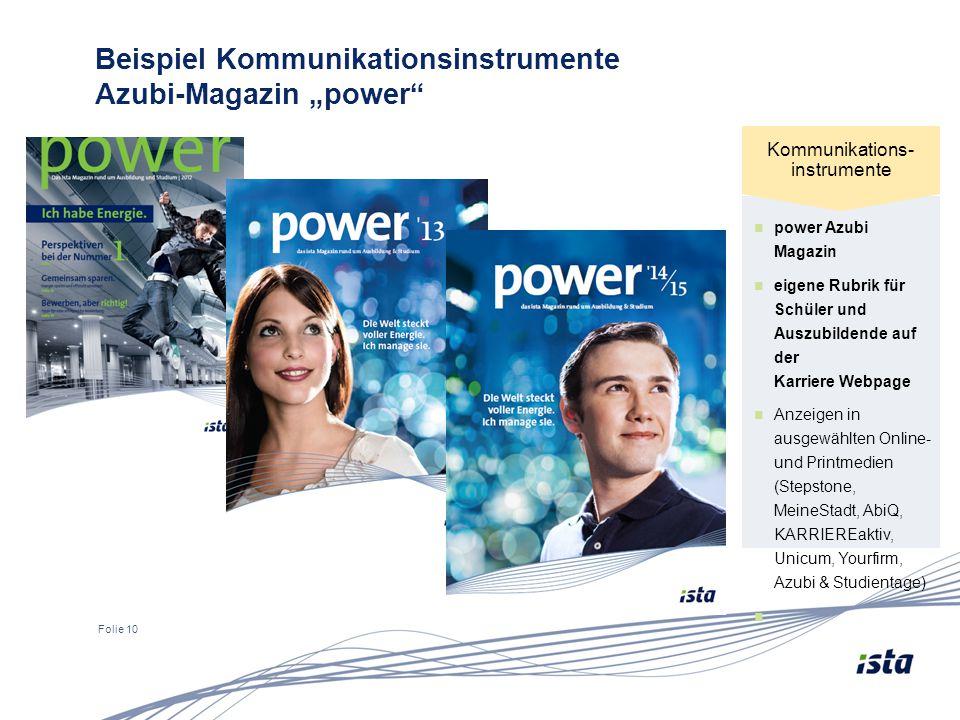 """Folie 10 Beispiel Kommunikationsinstrumente Azubi-Magazin """"power"""" power Azubi Magazin eigene Rubrik für Schüler und Auszubildende auf der Karriere Web"""